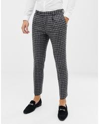 Pantalón de vestir de pata de gallo en gris oscuro de ASOS DESIGN