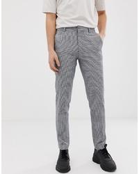 Pantalón de vestir de pata de gallo gris de ASOS DESIGN