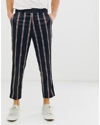 Pantalón de vestir de rayas verticales azul marino de ASOS DESIGN