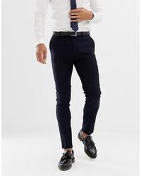 Pantalón de vestir de rayas verticales azul marino de AVAIL London