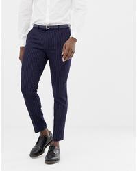 Pantalón de vestir de rayas verticales azul marino de MOSS BROS