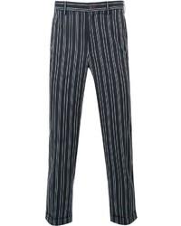 Pantalón de vestir de rayas verticales azul marino