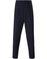 Pantalón de Vestir de Rayas Verticales Azul Marino de Raf Simons