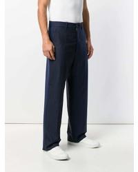 Pantalón de vestir de rayas verticales azul marino de Marni