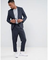 Pantalón de vestir de rayas verticales azul marino de Asos