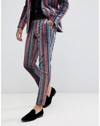 Pantalón de vestir de rayas verticales azul de ASOS DESIGN