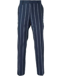 Pantalón de vestir de rayas verticales en azul marino y blanco