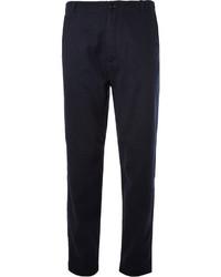Pantalón de vestir de rayas verticales en azul marino y blanco de YMC