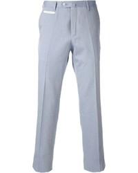 Pantalón de vestir de rayas verticales en blanco y azul de Corneliani
