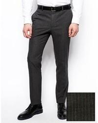 Pantalón de vestir de rayas verticales en gris oscuro de Asos