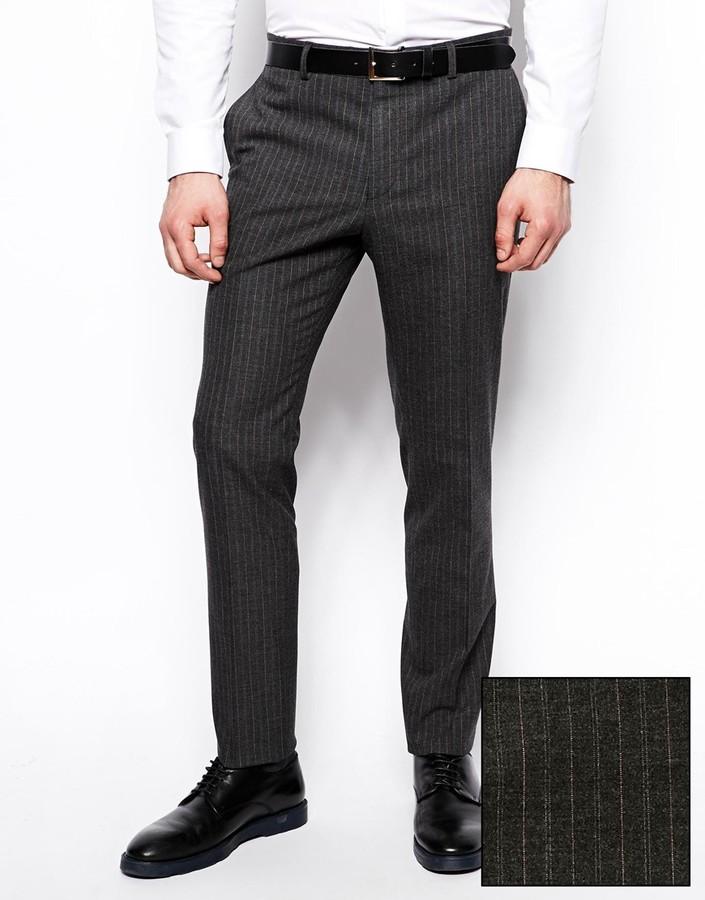 f38ab95241113 ... Pantalón de vestir de rayas verticales en gris oscuro de Asos