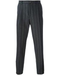 Pantalón de vestir de rayas verticales en gris oscuro de Brunello Cucinelli
