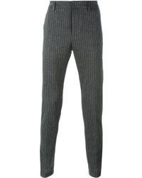 Pantalón de vestir de rayas verticales en gris oscuro de Dondup