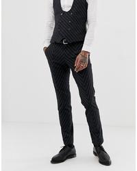 Pantalón de vestir de rayas verticales en gris oscuro de Twisted Tailor