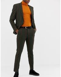 Pantalón de vestir de rayas verticales verde oscuro de ASOS DESIGN