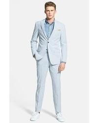 Pantalón de vestir de seersucker de rayas verticales celeste