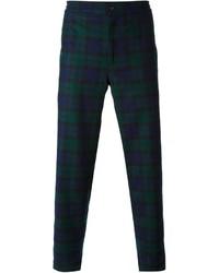 Pantalón de Vestir de Tartán Azul Marino y Verde de Golden Goose Deluxe Brand