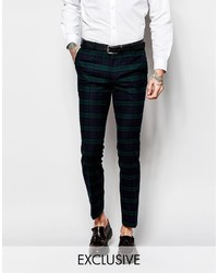 Pantalón de Vestir de Tartán Azul Marino y Verde
