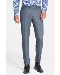Pantalón de Vestir de Tartán Azul