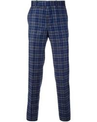 Pantalón de vestir de tartán azul de Alexander McQueen