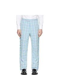 Pantalón de vestir de tartán celeste de Thom Browne