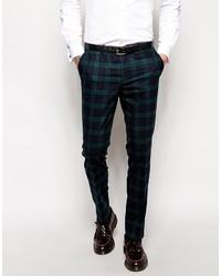 Pantalón de vestir de tartán en azul marino y verde