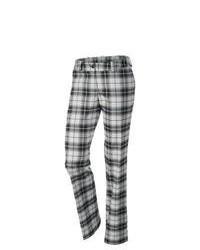 Pantalón de vestir de tartán en blanco y negro