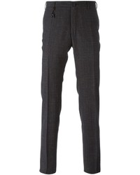 Pantalón de vestir de tartán en gris oscuro de Incotex
