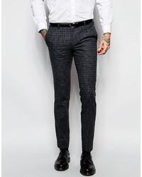 Pantalón de vestir de tartán en gris oscuro