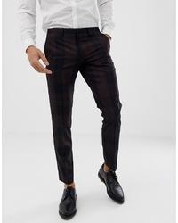 Pantalón de vestir de tartán en marrón oscuro de Burton Menswear