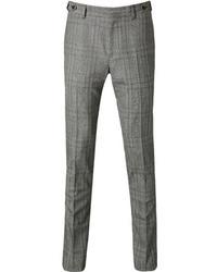 Pantalón de vestir de tartán gris