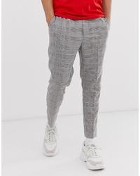 Pantalón de vestir de tartán gris de New Look
