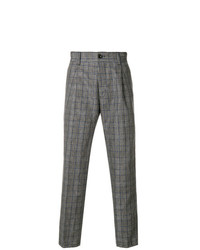 Pantalón de vestir de tartán gris de Pt01