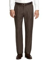 Pantalón de vestir de tartán marrón