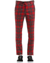 Pantalón de vestir de tartán rojo