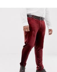 Pantalón de vestir de terciopelo burdeos