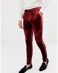 Pantalón de vestir de terciopelo burdeos de ASOS DESIGN