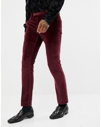 Pantalón de vestir de terciopelo burdeos de Twisted Tailor