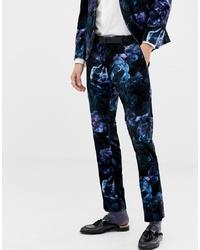 Pantalón de vestir de terciopelo con print de flores azul marino de Twisted Tailor