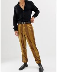 Pantalón de vestir de terciopelo de rayas verticales mostaza de ASOS DESIGN