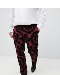 Pantalón de vestir de terciopelo estampado burdeos de Twisted Tailor