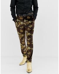 Pantalón de vestir de terciopelo marrón de ASOS DESIGN