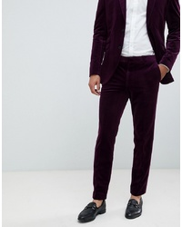 Pantalón de vestir de terciopelo morado oscuro de Jack & Jones