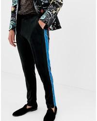 Pantalón de vestir de terciopelo negro de ASOS DESIGN