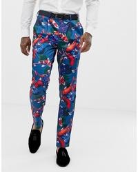 Pantalón de vestir estampado azul de ASOS DESIGN