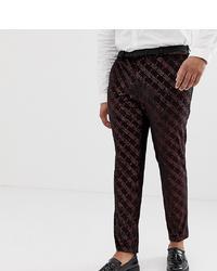 Pantalón de vestir estampado burdeos de ASOS DESIGN