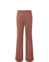 Pantalón de vestir estampado burdeos de Gucci