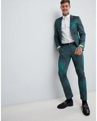 Pantalón de vestir estampado verde oscuro de Twisted Tailor