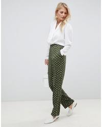 Pantalones anchos a lunares verde oscuro de Vila