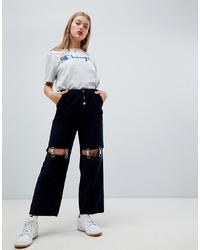 Pantalones anchos azul marino de ASOS DESIGN